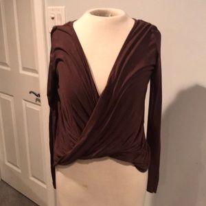 Tobi chocolate brown crop faux wrap top Jersey